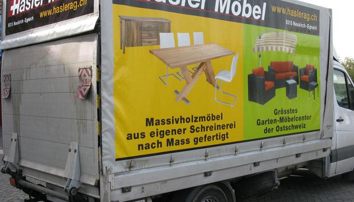 Haslermöbel Lieferwagen Beschriftung auf Blachenmaterial
