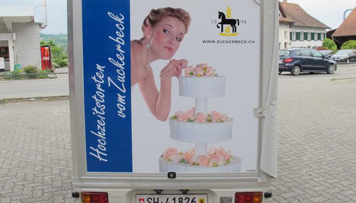 Zuckerbeck Ermatinger Lieferwagen beschriftung